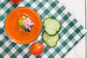 Gazpacho soup and ingredients