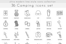36 Camping line icons set.