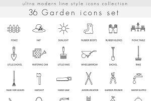 36 Garden line icons set.