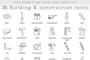 36 Building Construction line icons