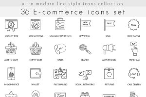 36 E-commerce line icons set.