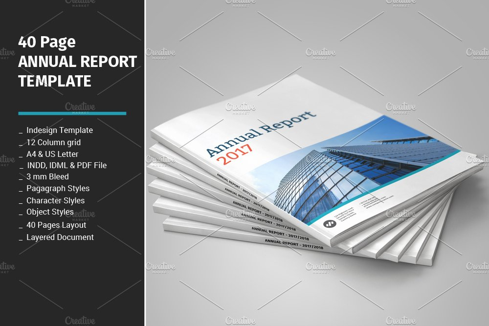 40 page annual report template brochure templates creative market. Black Bedroom Furniture Sets. Home Design Ideas