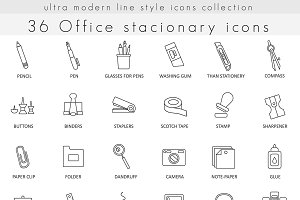 36 Office Stationery line icons set.