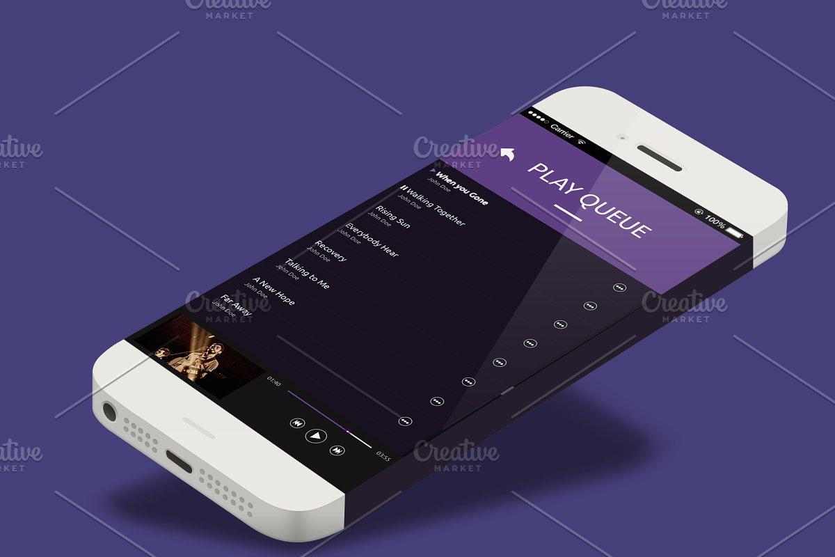 Quark Music player App Ui ~ UI Kits and Libraries ~ Creative