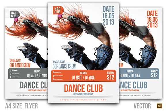 dance club event flyer flyer templates creative market