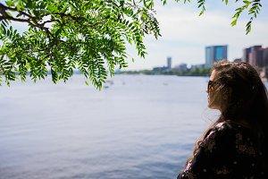 Pretty Girl at Boston Harbor