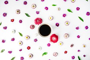 Floral pattern with coffee