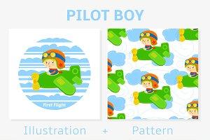 Pilot boy vector