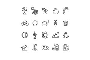 Ecology Outline Icon Set. Vector