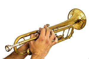 A brass colored trumpet