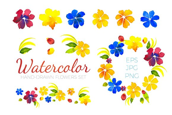 Watercolor Flowers Set. EPS,JPG,PNG - Illustrations