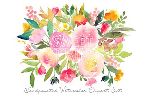 Sweet Spring - Watercolor Floral Set