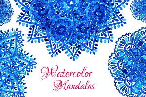 Blue Watercolor Mandalas