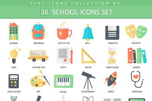 36 School color flat icons set