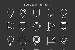 Map and navigation pin line icons