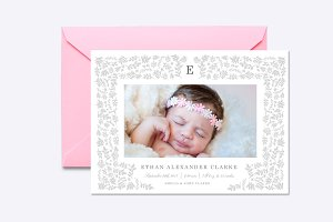 Harvest Flowers Birth Announcement
