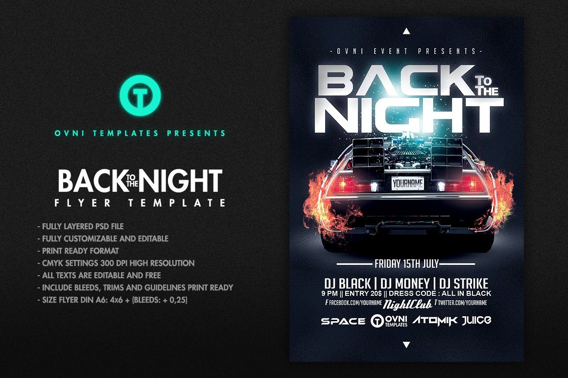 BACK TO THE NIGHT Flyer Template Templates Creative Market
