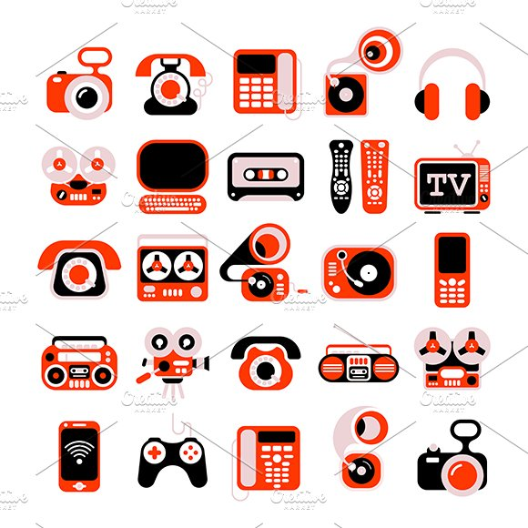 Electronic Devises Vector Icon Set ~ Graphic Objects ...