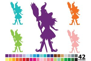 Rainbow Witch Silhouette