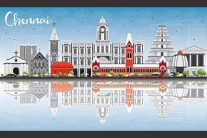 Chennai Skyline with Gray Landmarks
