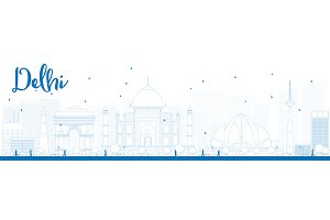 Outline Delhi skyline with landmarks
