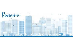 Outline Panama City skyline