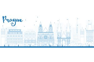 Outline Prague skyline