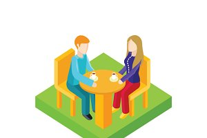Couple Date in Cafe Isometric Design