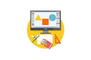Set of Design Graphic Work Space