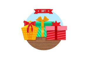 Gift Box Icon Flat Design Sign