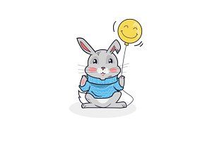 Gray Hare with Balloon Isolated