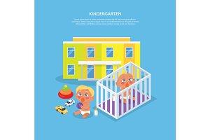 Kindergarten Design Flat Banner