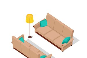 Sofa and Lamp Isometric Design