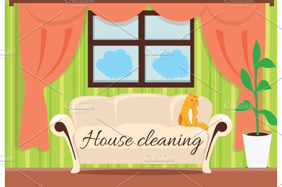 House Cleaning. Cat on Sofa - Illustrations