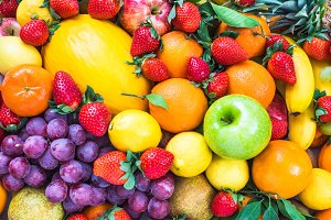Fresh fruits background.
