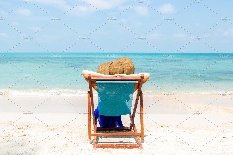 Cute Lady In Beach Chair High