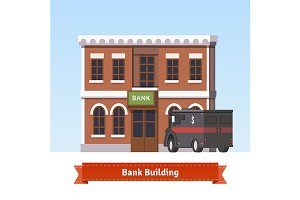 Bank building with armoured truck