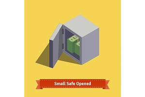 Opened safe with money inside