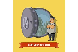 Bank vault room safe door