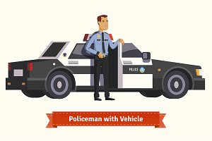 Policeman with his vehicle