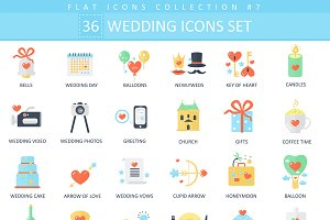 36 wedding color flat icons set
