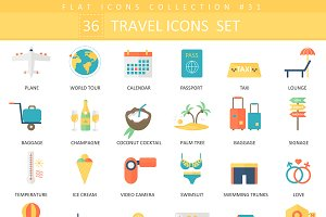 36 Travel color flat iconsset.