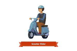 Young man on a scooter with a helmet