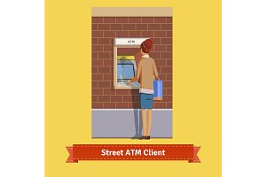 Girl at ATM machine