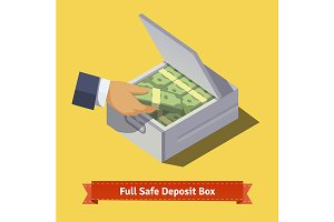 Hands putting cash to a box