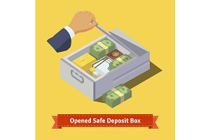 Hand opening a safe deposit box