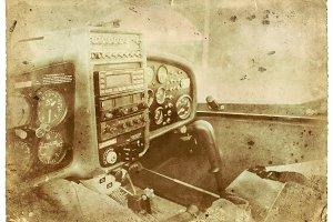 Airplane Cockpit Vintage Photo