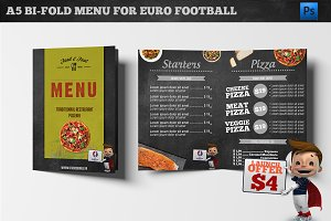 A5 Bi-Fold Menu Euro 2016 Football
