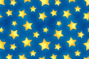 Glossy golden stars on blue