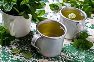 Freshly prepared mint tea